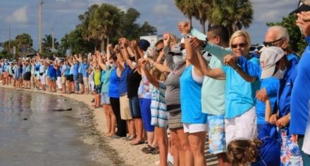 De la mano contra la contaminación por algas en las playas de Florida