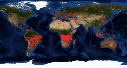 La NASA recopiló en imágenes los incendios activos en todo el planeta