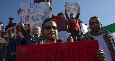 Protesta xenófoba contra los migrantes en Tijuana